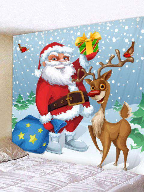 Christmas Deer and Santa Print Wall Hanging Tapestry - multicolor W59 X L59 INCH