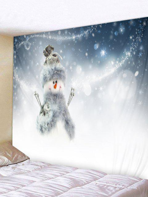 Smile Snowman Print Wall Hanging Art Tapestry - multicolor W59 X L51 INCH