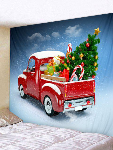 Red Pickup Truck with Christmas Tree Wall Tapestry - multicolor W59 X L59 INCH