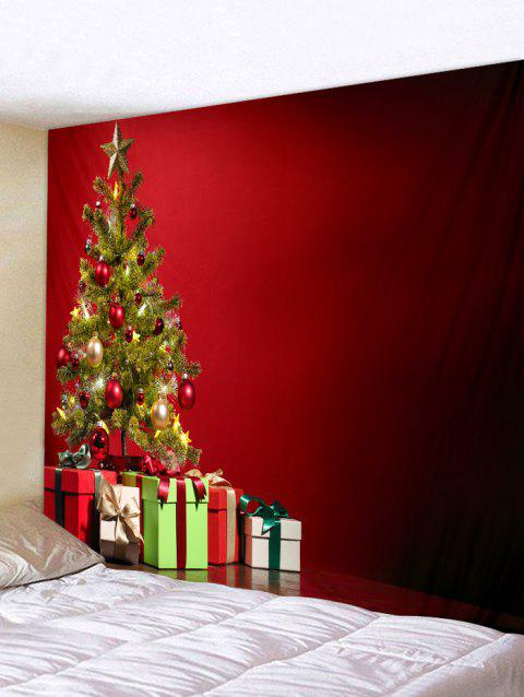 Christmas Tree and Gift Print Wall Hanging Tapestry - multicolor W59 X L59 INCH
