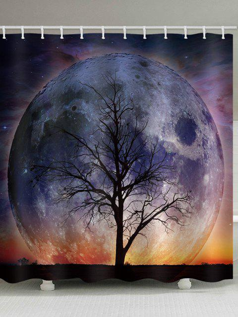 Moon Tree Print Bathroom Waterproof Shower Curtain - multicolor W71 X L71 INCH