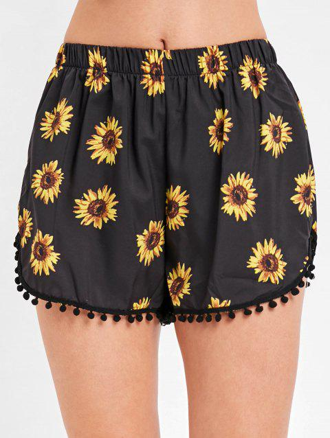 Sunflower Print Pull On Beach Shorts - BLACK XL