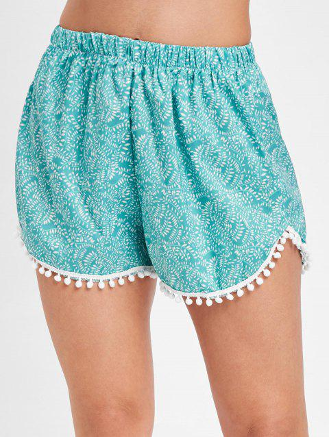 Printed Pull On Pom Pom Beach Shorts - DARK TURQUOISE XL