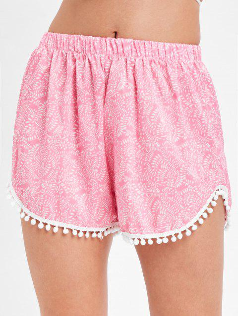 Printed Pull On Pom Pom Beach Shorts - LIGHT PINK XL