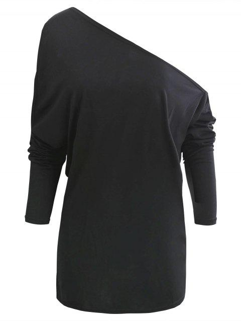 One Shoulder Tunic T Shirt - BLACK L