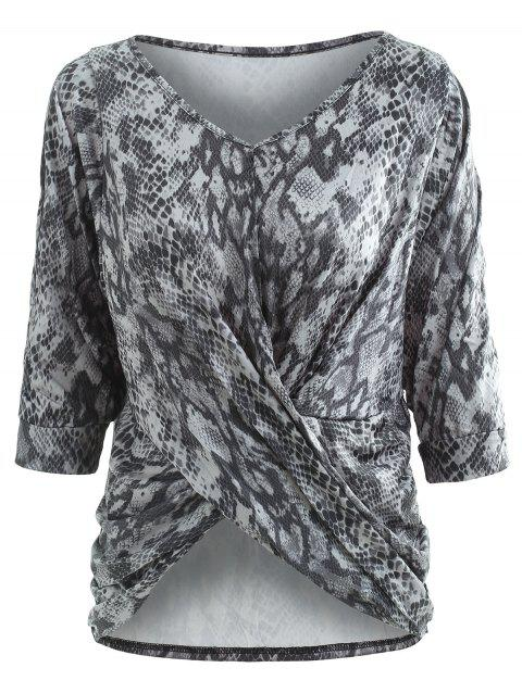 V Neck Snake Print Knot Front Top - multicolor M