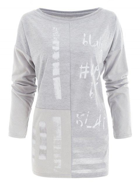Printed Glitter Pullover T Shirt - GRAY XL