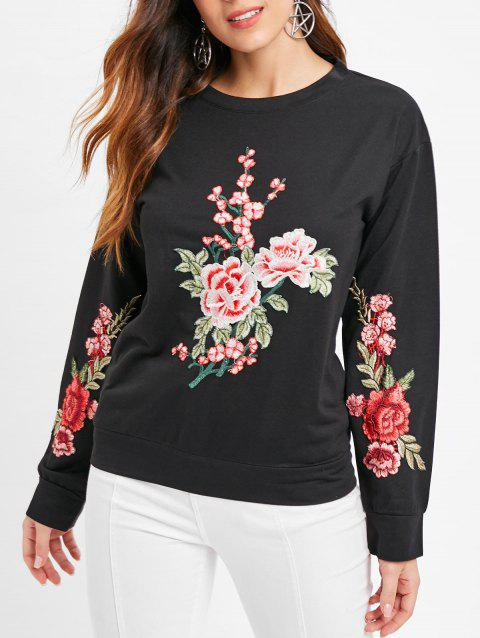 Long Sleeve Floral Embroidered T-shirt - BLACK L
