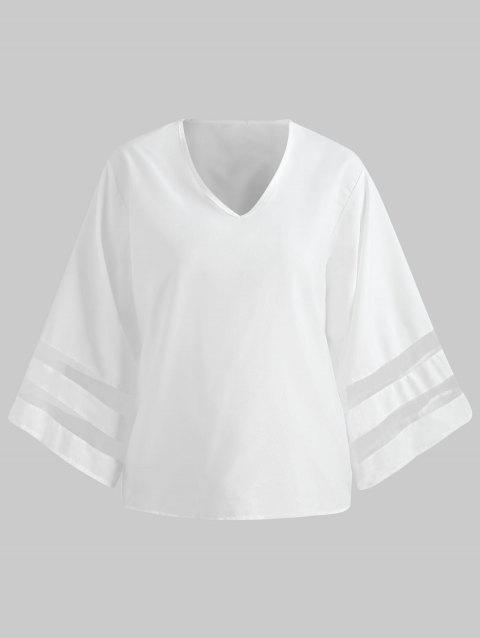 Mesh Panel Long Sleeve Blouse - WHITE XL