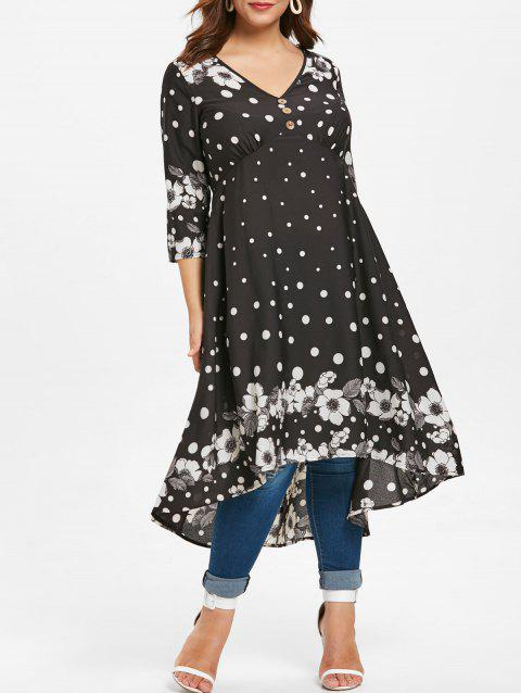 Plus Size Dotted Floral High Low Long Blouse - BLACK 2X