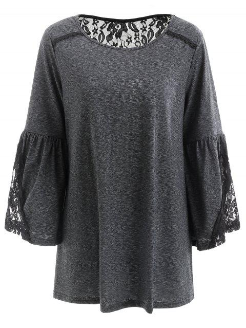 Bell Sleeve Ruched Tunic T Shirt - BLACK M