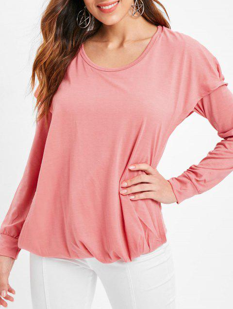 Faux Twinset Hooded Plain T Shirt - PINK XL