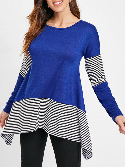 Stripe Panel Asymmetrical Tunic Tee - BLUEBERRY BLUE XL