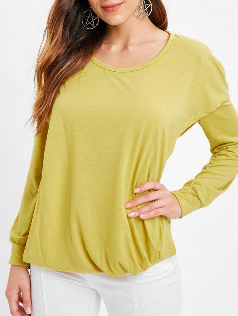 Faux Twinset Hooded Plain T Shirt - YELLOW 2XL