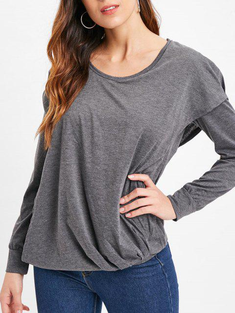 Faux Twinset Hooded Plain T Shirt - GRAY 2XL