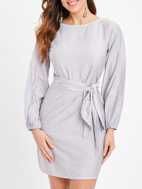 Long Sleeve Tie Knot Dress - LIGHT GRAY L