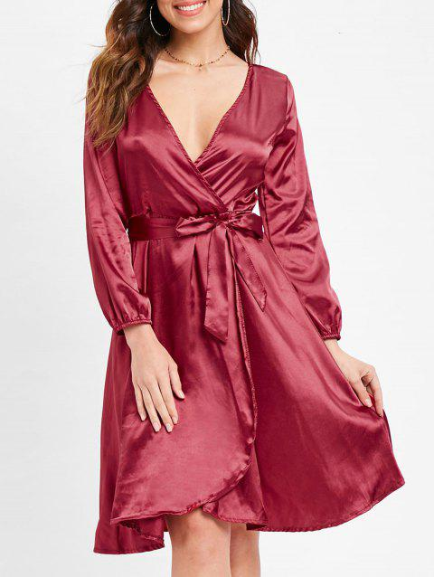 Satin Belted Surplice Dress - RED WINE XL
