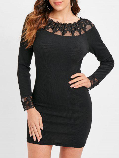 Lace Panel Long Sleeve Bodycon Knitwear - BLACK XL