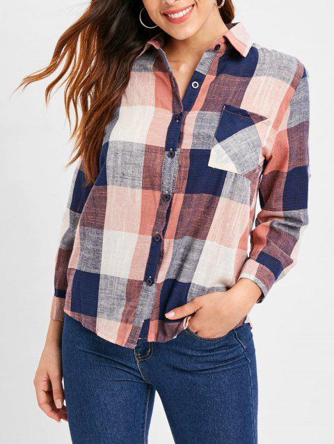 Roll Tab Sleeve Tartan Shirt - multicolor L
