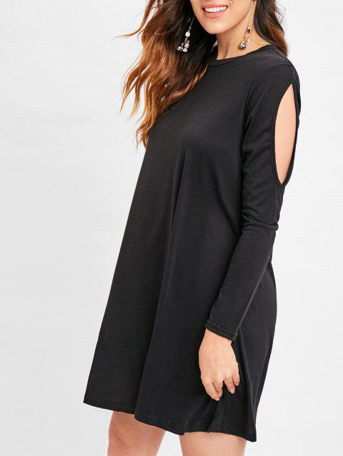 Cut Out Long Sleeve Short Dress - BLACK L