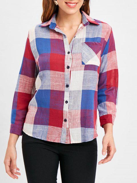 Roll Tab Sleeve Tartan Shirt - RED XL