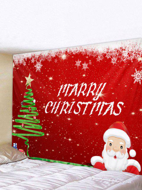 Santa Claus Snowflake Print Christmas Wall Hanging Tapestry - RED W79 X L59 INCH