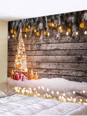 wooden board lights christmas tree print tapestry