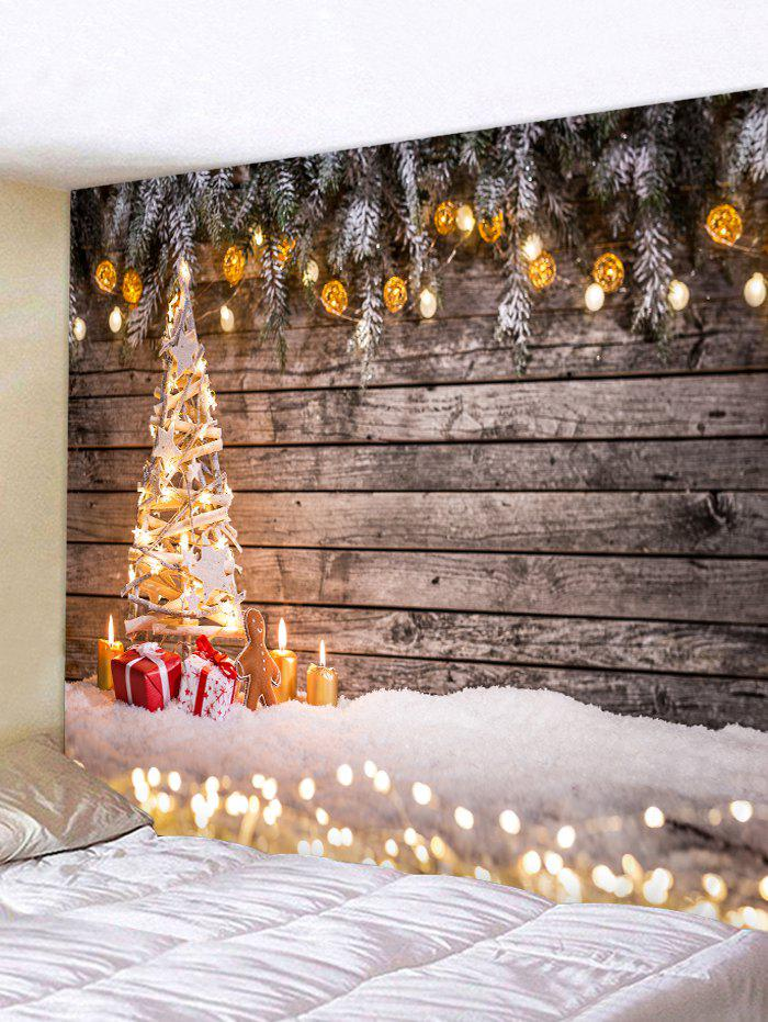 Wooden Board Lights Christmas Tree Print Tapestry - multicolor W91 X L71 INCH