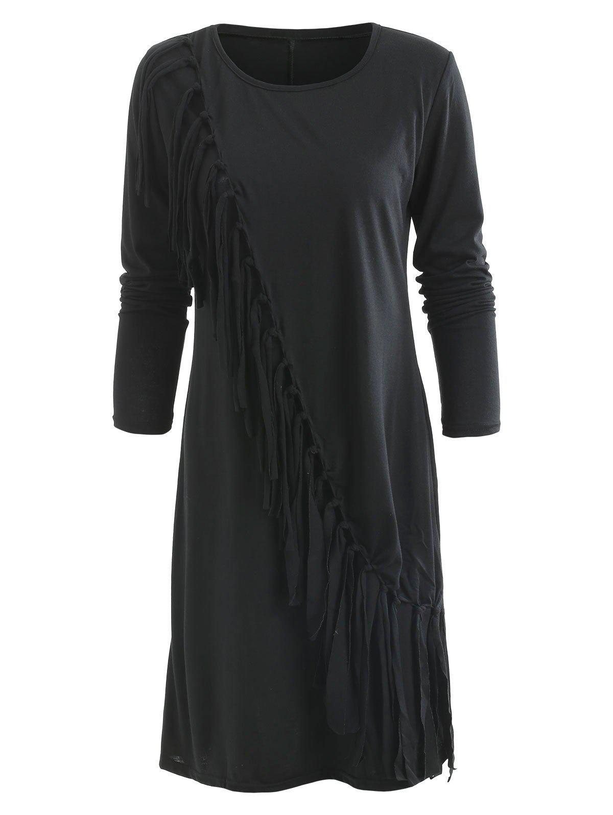 Fringe Asymmetrical Hem Long Sleeve Dress - BLACK S