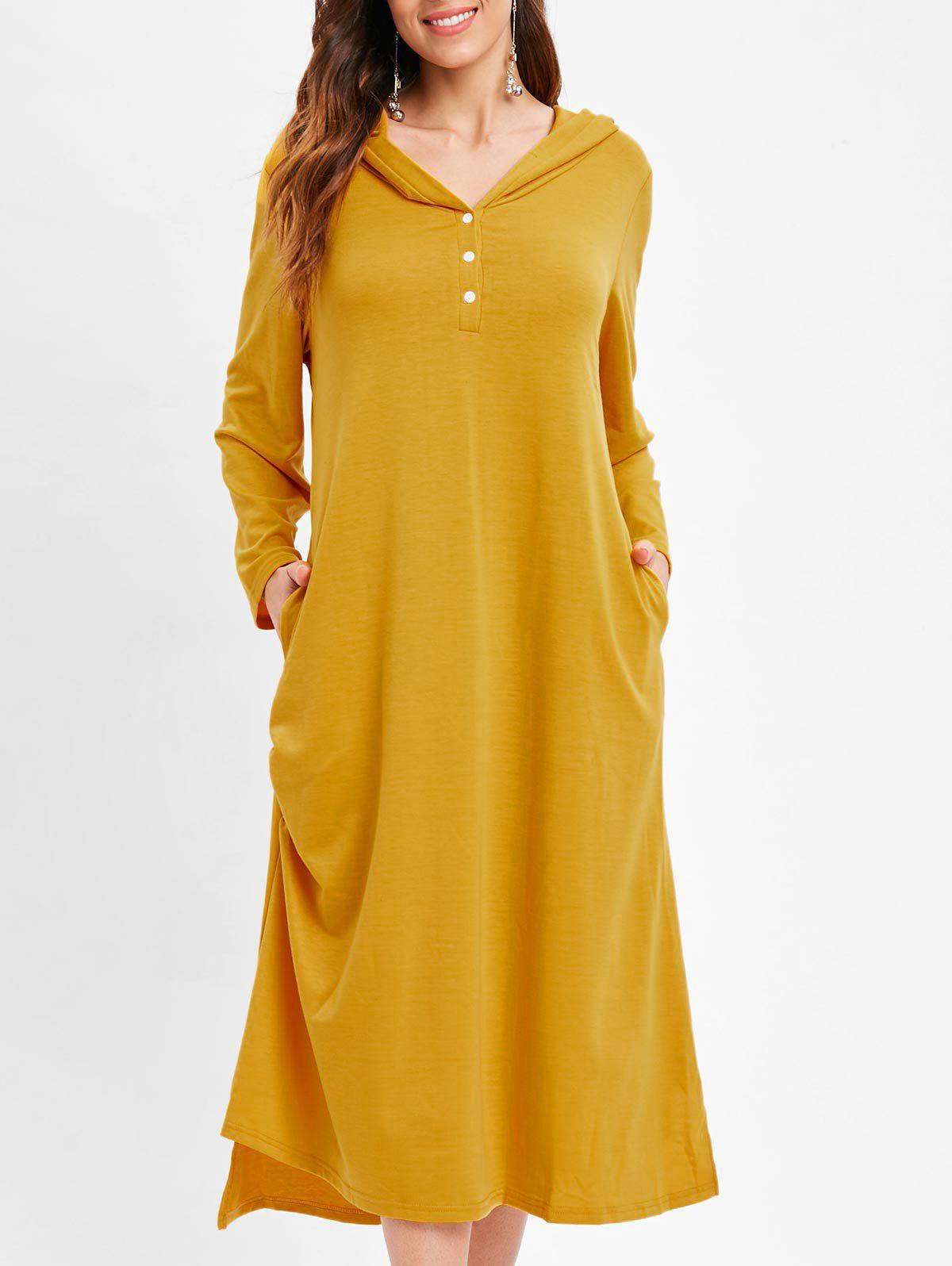 Pocket Hooded Tunic Mid Dress - YELLOW 2XL