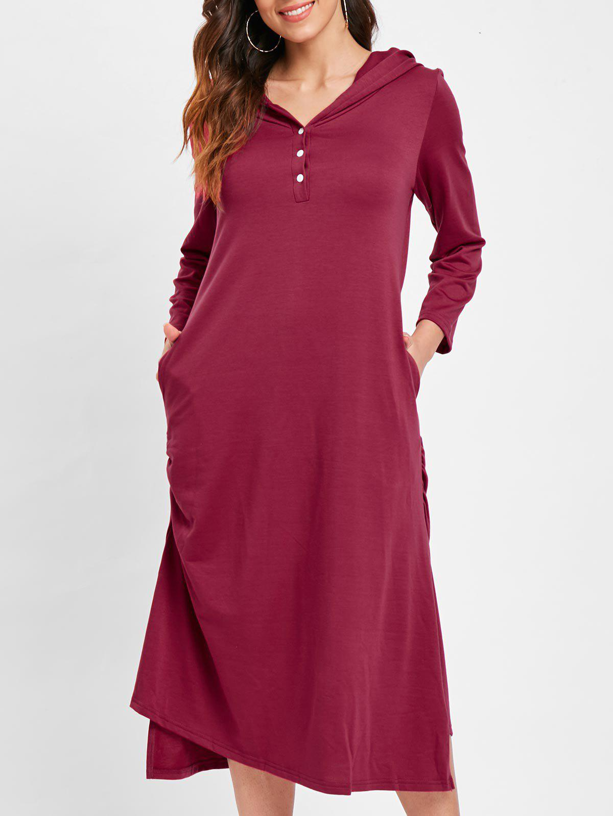 Pocket Hooded Tunic Mid Dress - RED L