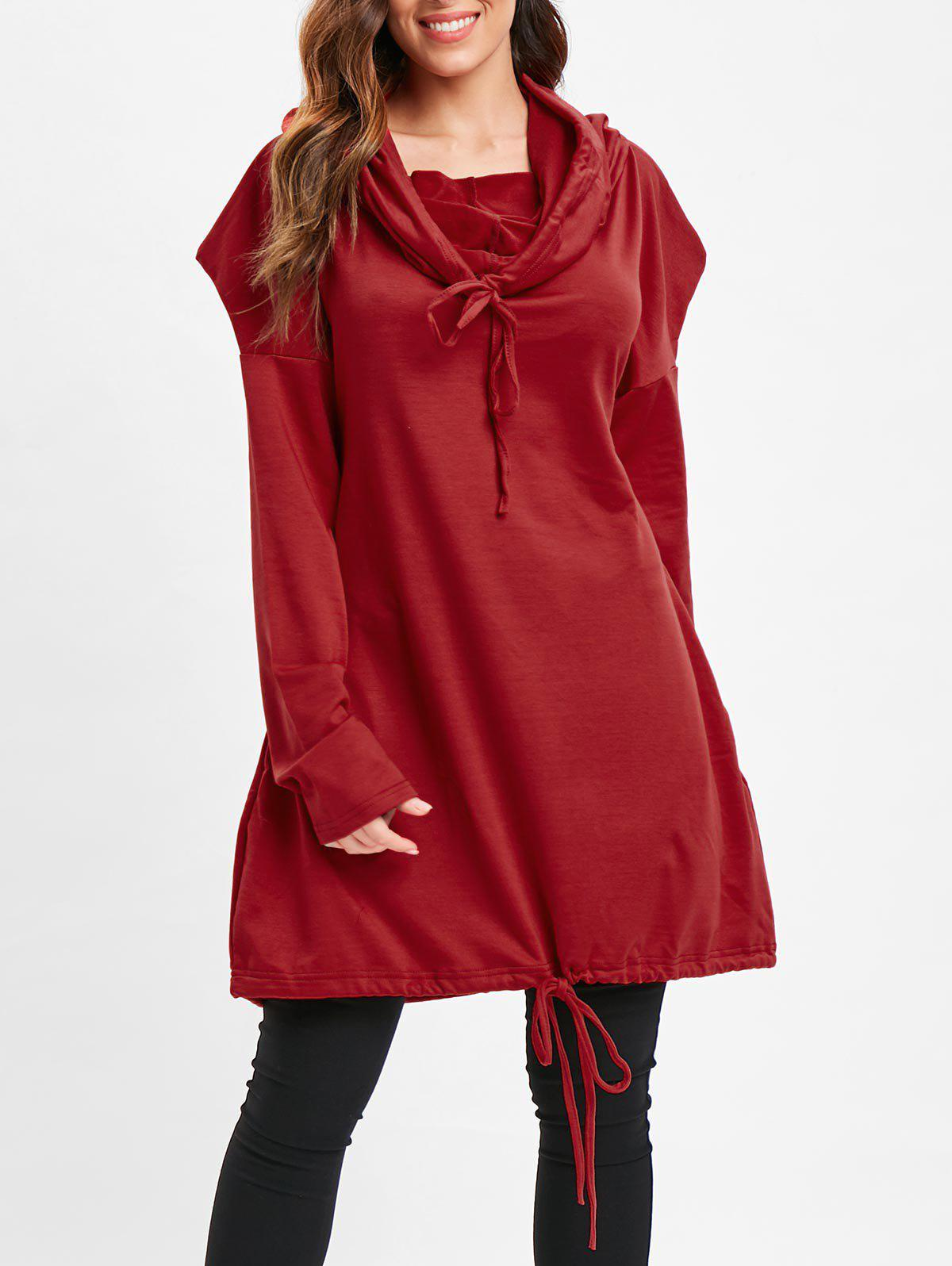Longline Drop Shoulder Drawstring Hoodie фото