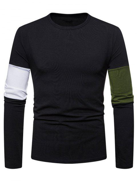 Color Block Sleeve Tee Shirt - BLACK 2XL