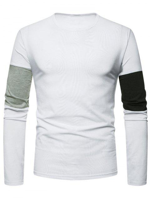 Color Block Sleeve Tee Shirt - WHITE L