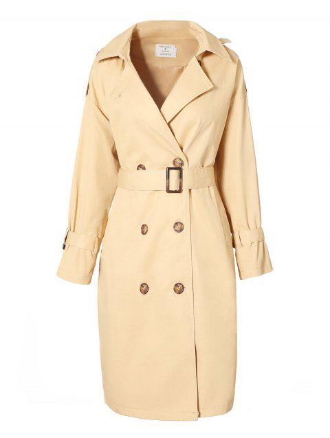 Double Breast Longline Trench Coat - KHAKI XL