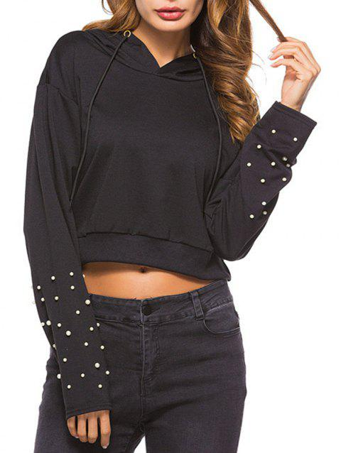117918c19193e 41% OFF  2019 Beading Cropped Hoodie In BLACK XL