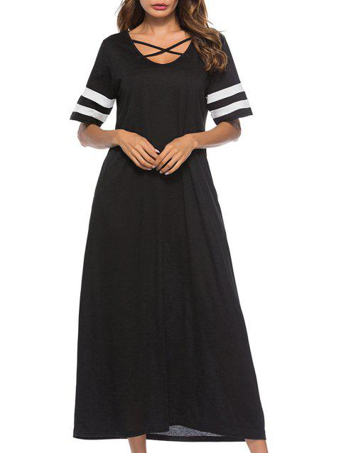 Criss Cross Maxi T-shirt Dress - BLACK L