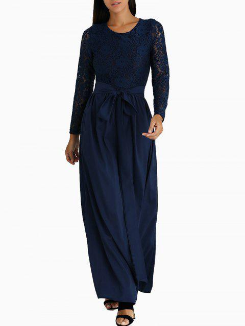 Long Sleeve Lace Panel Maxi Dress - MIDNIGHT BLUE XL