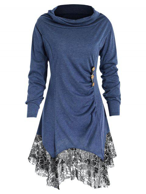 Long Sleeve Lace Trim Tunic T-shirt - PEACOCK BLUE L