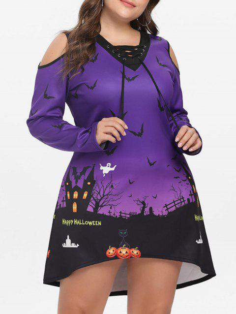 Plus Size Halloween Lace Up Dress - PURPLE 2X