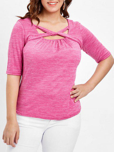 Plus Size Marled Square Neck T-shirt - PINK CUPCAKE 2X