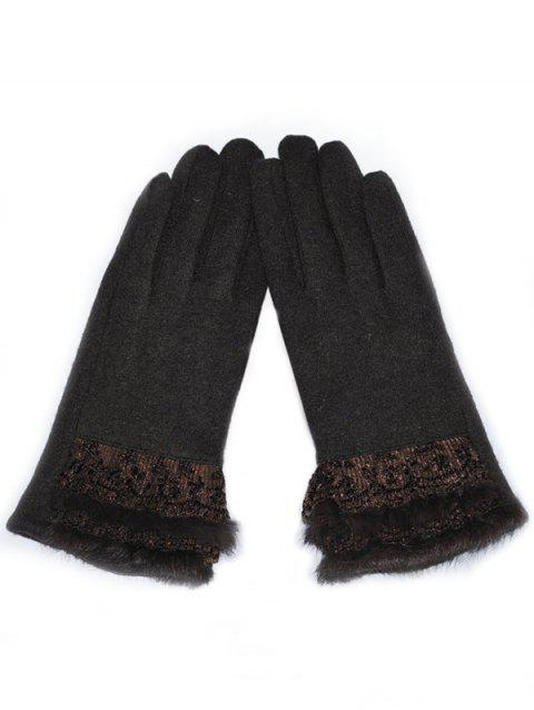 Solid Color Full Finger Lace Gloves - COFFEE
