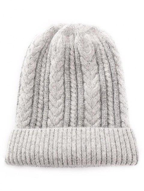 Outdoor Striped Flanging Knitted Beanie - GRAY CLOUD