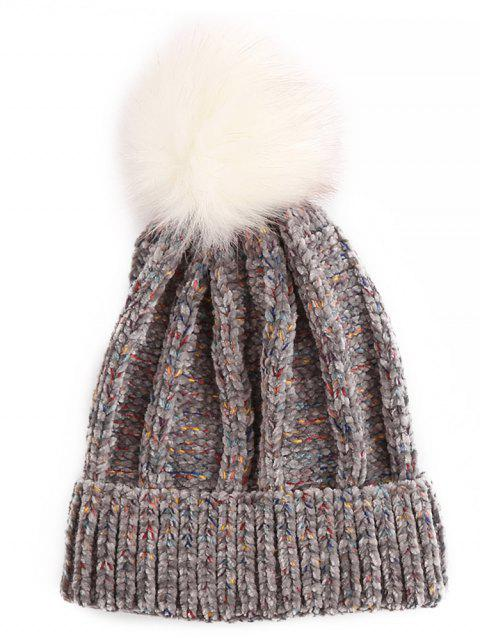 Winter Fuzzy Ball Flanging Knitted Beanie - GRAY