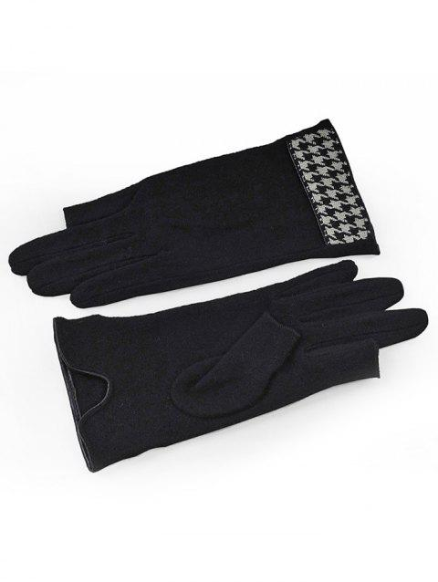 Houndstooth Knitted Winter Gloves - BLACK