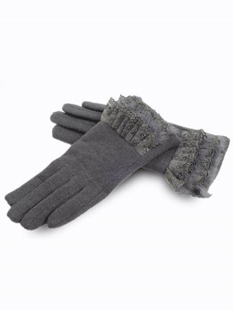 Solid Color Full Finger Lace Gloves - GRAY
