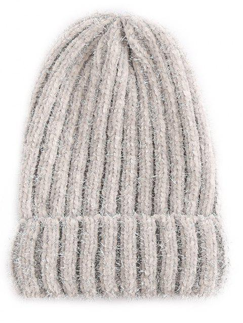 Outdoor Striped Flanging Knit Beanie - GRAY GOOSE