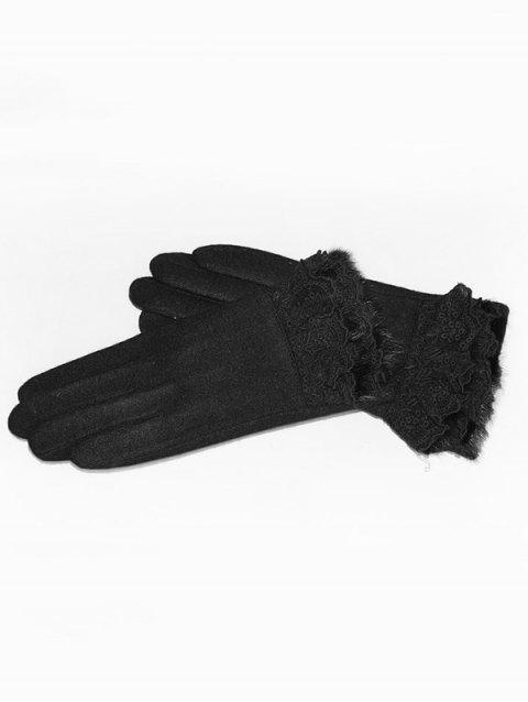 Solid Color Full Finger Lace Gloves - BLACK