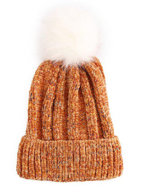Winter Fuzzy Ball Flanging Knitted Beanie - CHOCOLATE