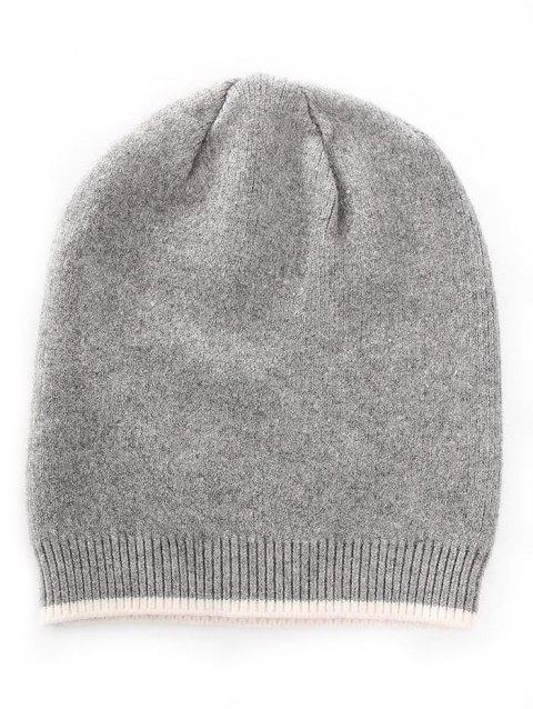 Solid Color Crochet Knitted Beanie - GRAY CLOUD